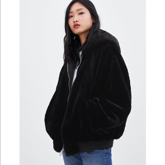 Zara reversible faux fur bomber jacket